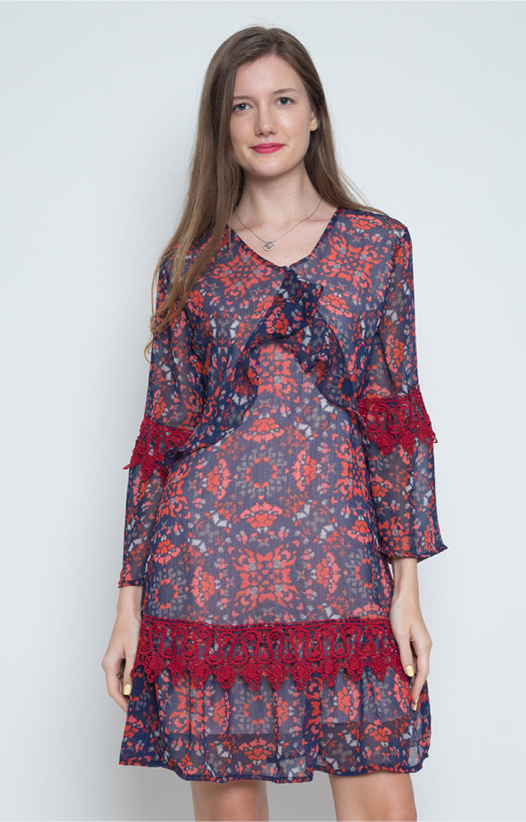 Lavinia Ruffle Shift Dress in Multi