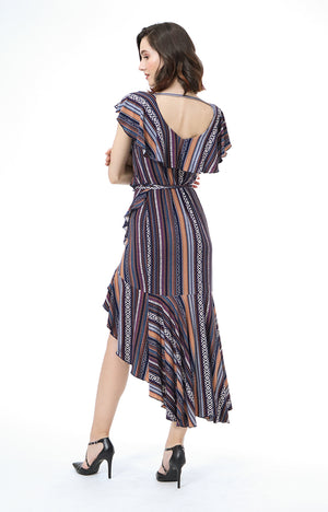 Arya Multi Print Ruffle Wrap Maxi Dress