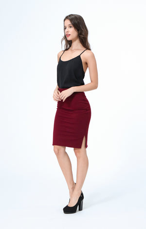 Joan Red Pencil Skirt with Side Slit