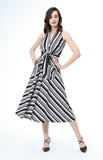 Ygritte Striped Halter Maxi Dress Black