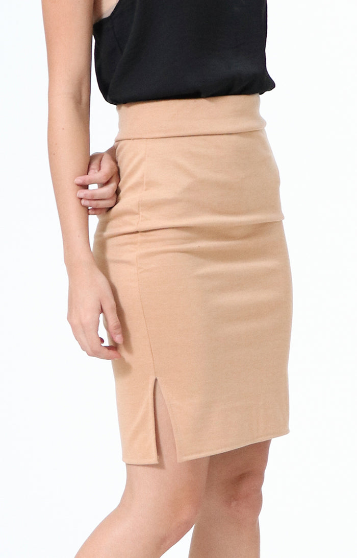 Joan Cream Pencil Skirt with Side Slit