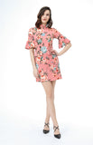 Donna Bell Sleeve Work Dress in Pink Floral