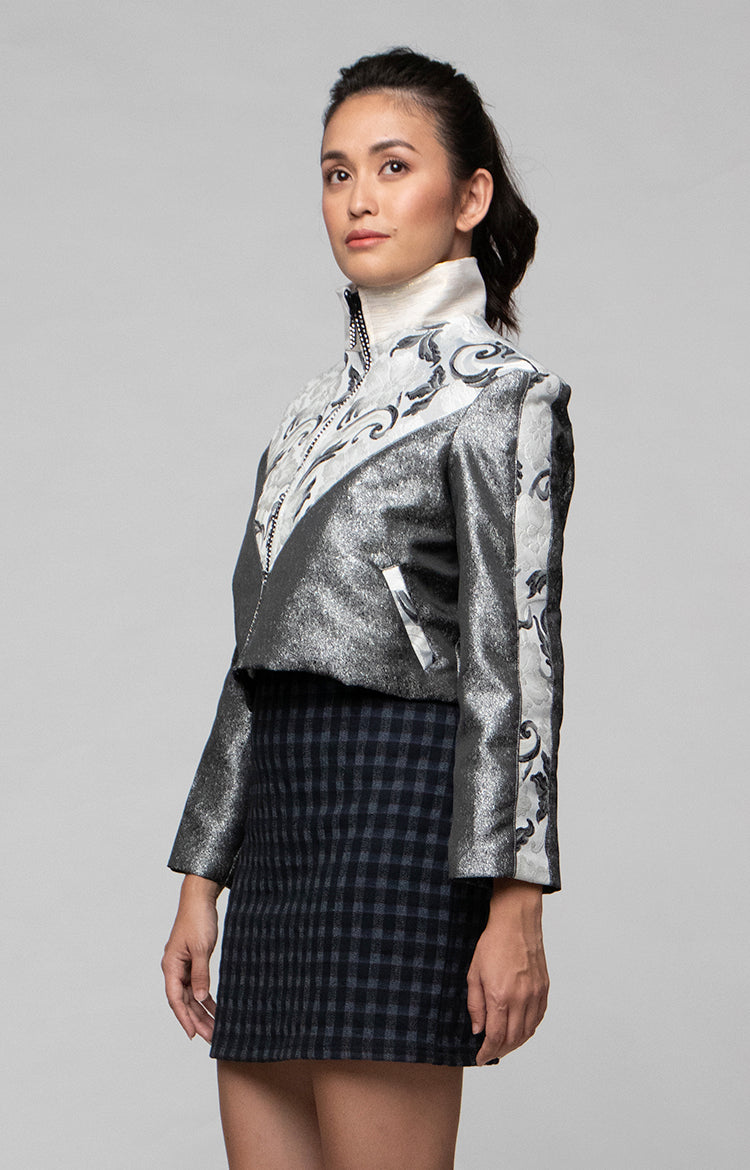 Cropped Biker Jacket in Space