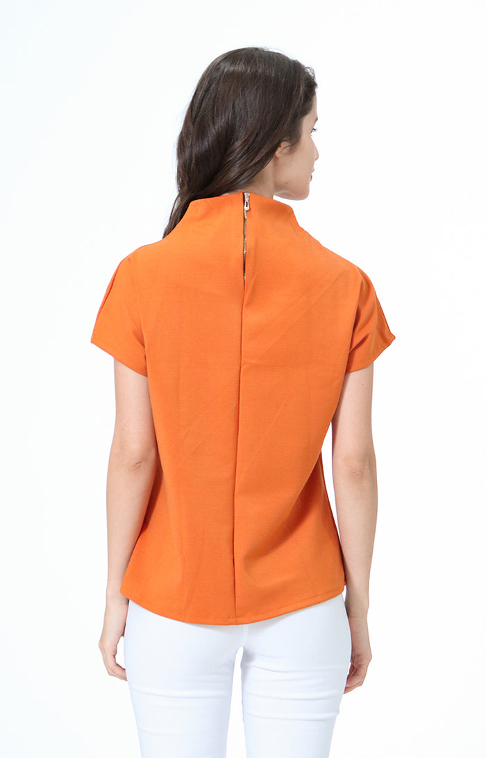 Kathrine Orange High Neck Blouse
