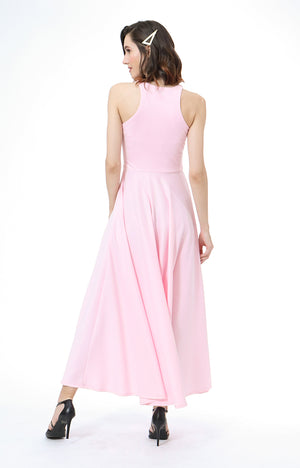 Parisienne Halter Formal Dress in Light Rose Pink
