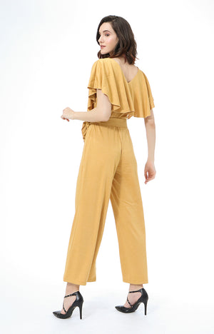 Mitzie Ruffle V-Neck Jumpsuit in Mustard