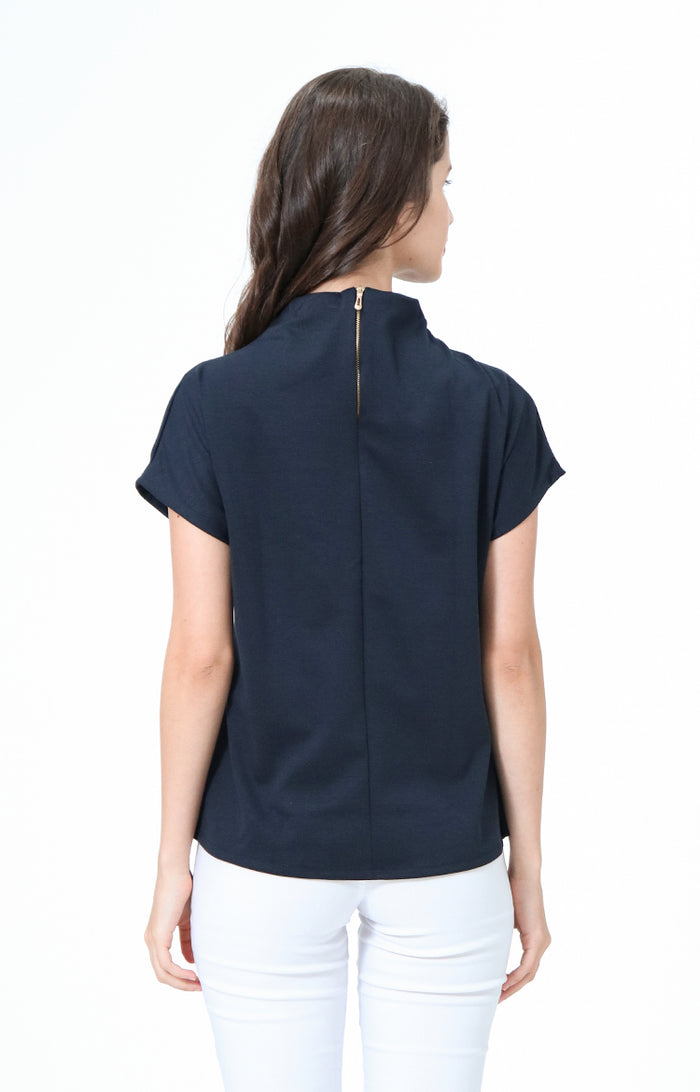 Kathrine Navy High Neck Blouse