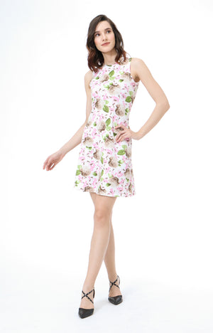 Italia Sleeveless Floral Dress in White
