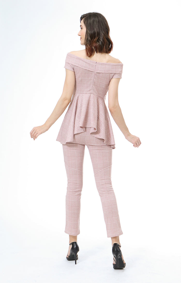 Malena Peplum Top With Slim Pants Set in Blush