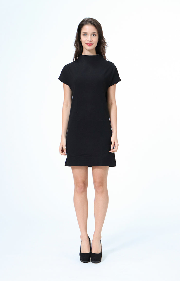 Kathrine Black High Neck Dress