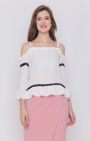 Madia Ruffle Cold Shoulder Top