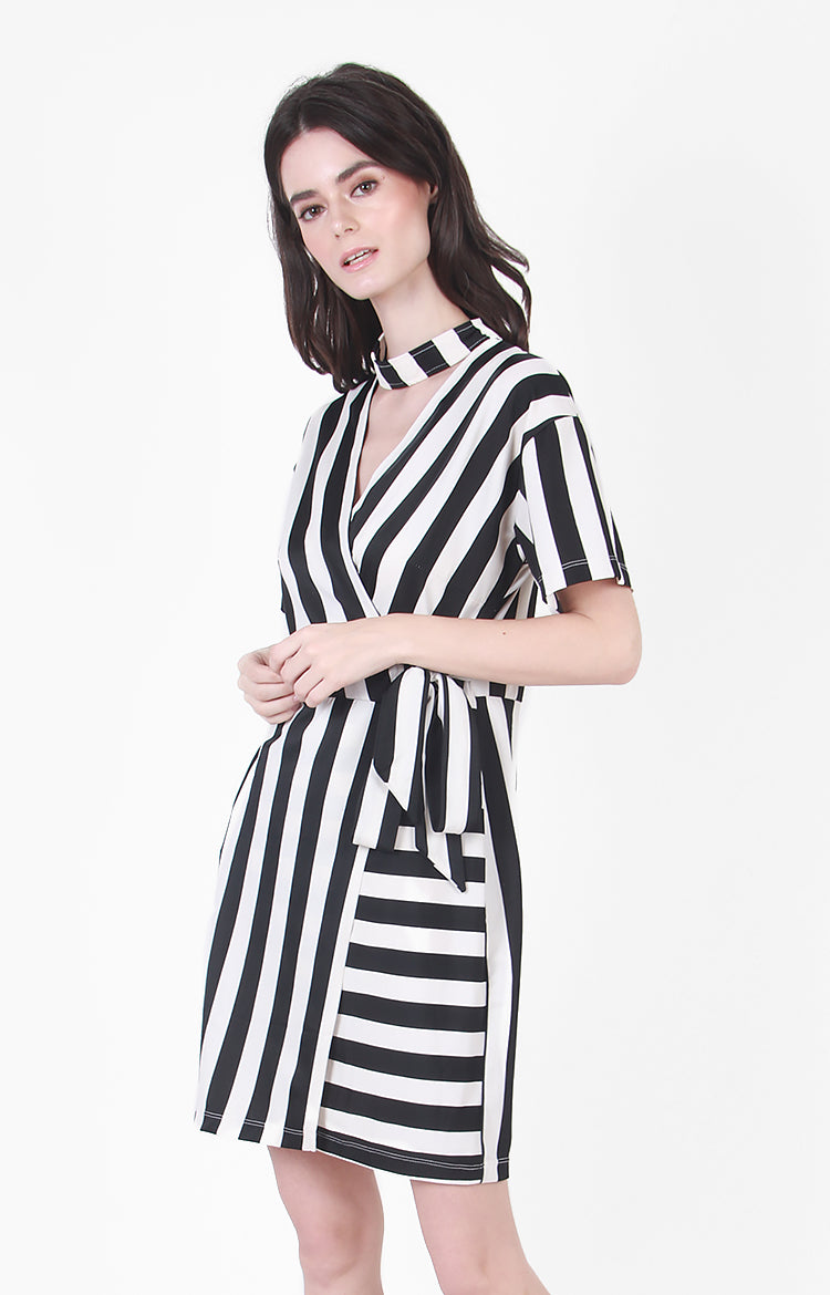 Maddie Dress in Black Stripe