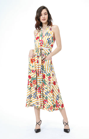 Ygritte Floral Striped Halter Maxi Dress in Mustard