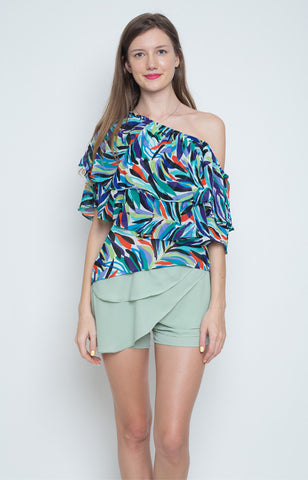 Laurana Layered One Shoulder Top in Blue