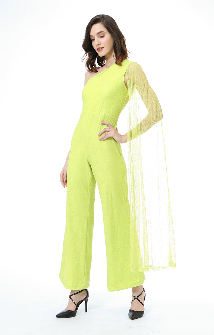Viktoria One Shoulder Jumpsuit in Yellow Lace