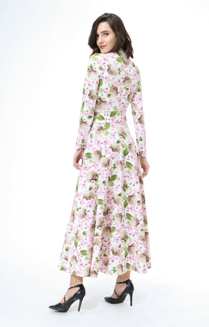 Minka Maxi Dress In Cream Floral Print
