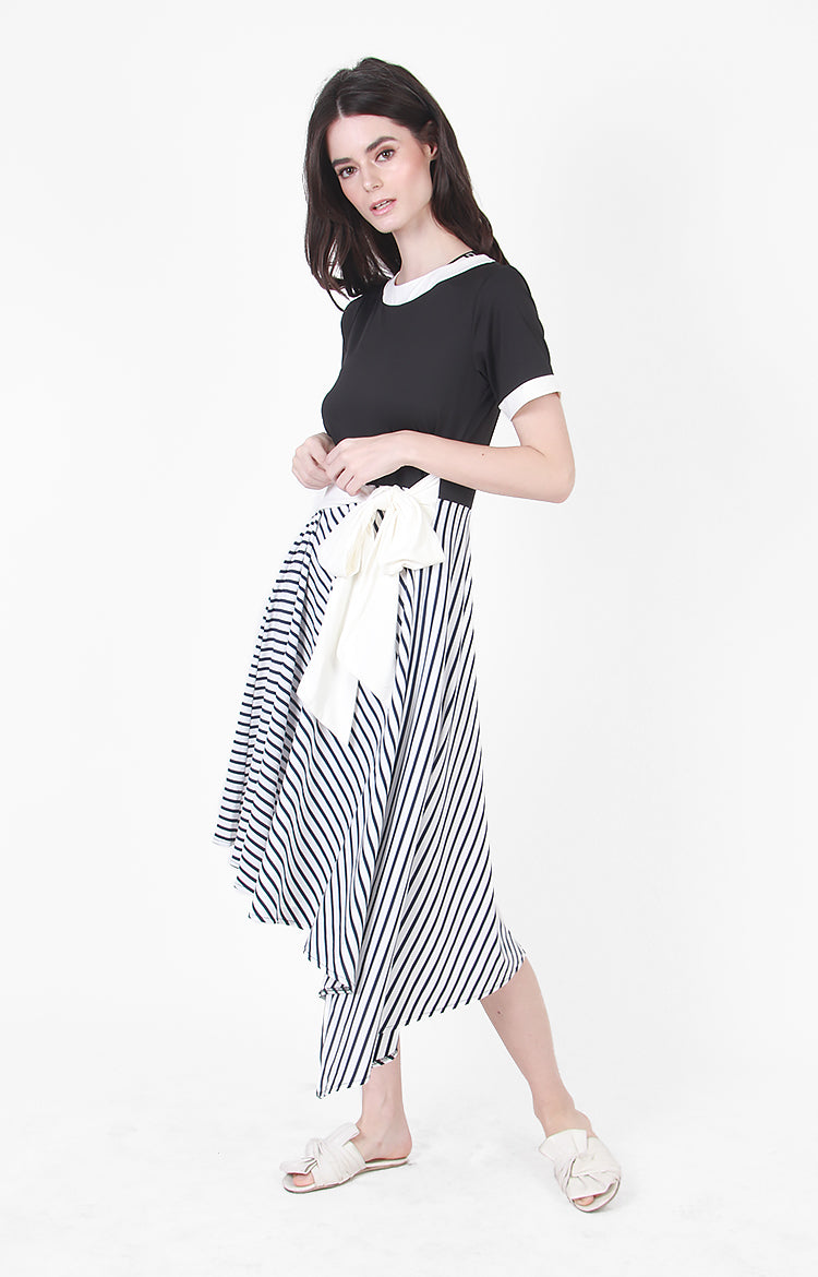 Natalie Stripe Asymetrical Hem in Black