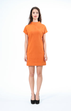 Kathrine Orange High Neck Dress