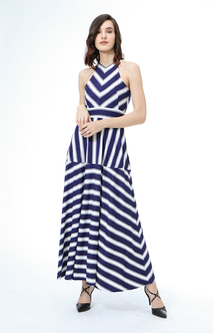 Selena Sleeveless Maxi Dress Striped