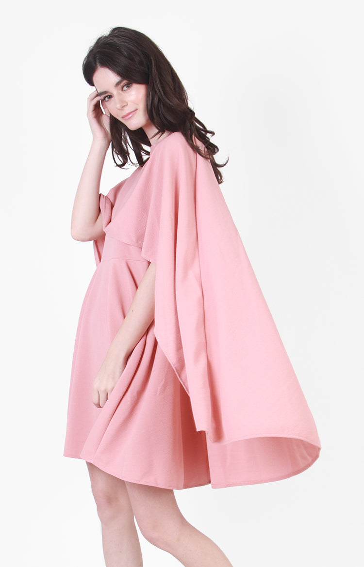Margaret Cape Dress in Pink