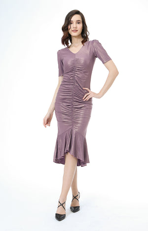 Dana V-Neck Shirred Dress in Violet