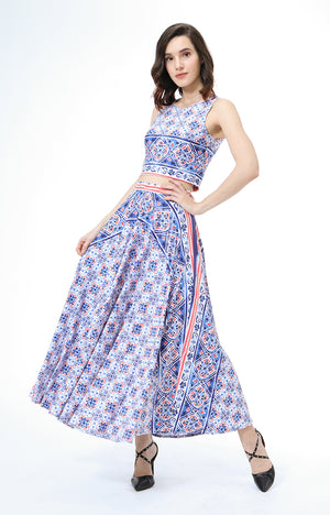 Maharani Set In White/Blue Floral Print