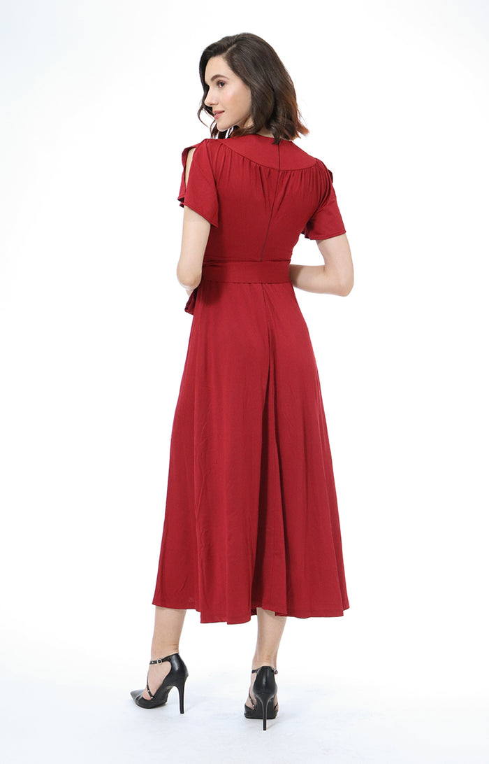 Sunny V-Neck Maxi Dress in Red