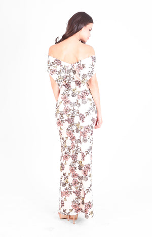 Alegra Off Shoulder Gown in Floral Print