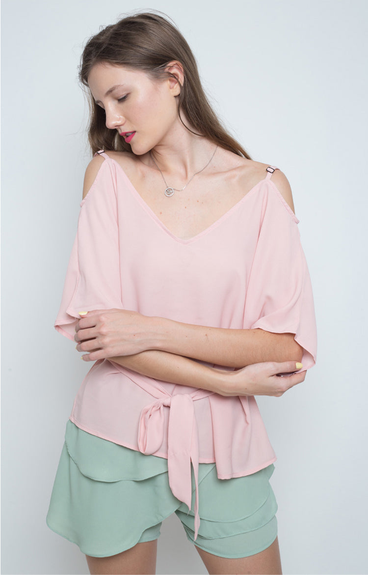 Landa Sweetheart Cold Shoulder Top in Pink