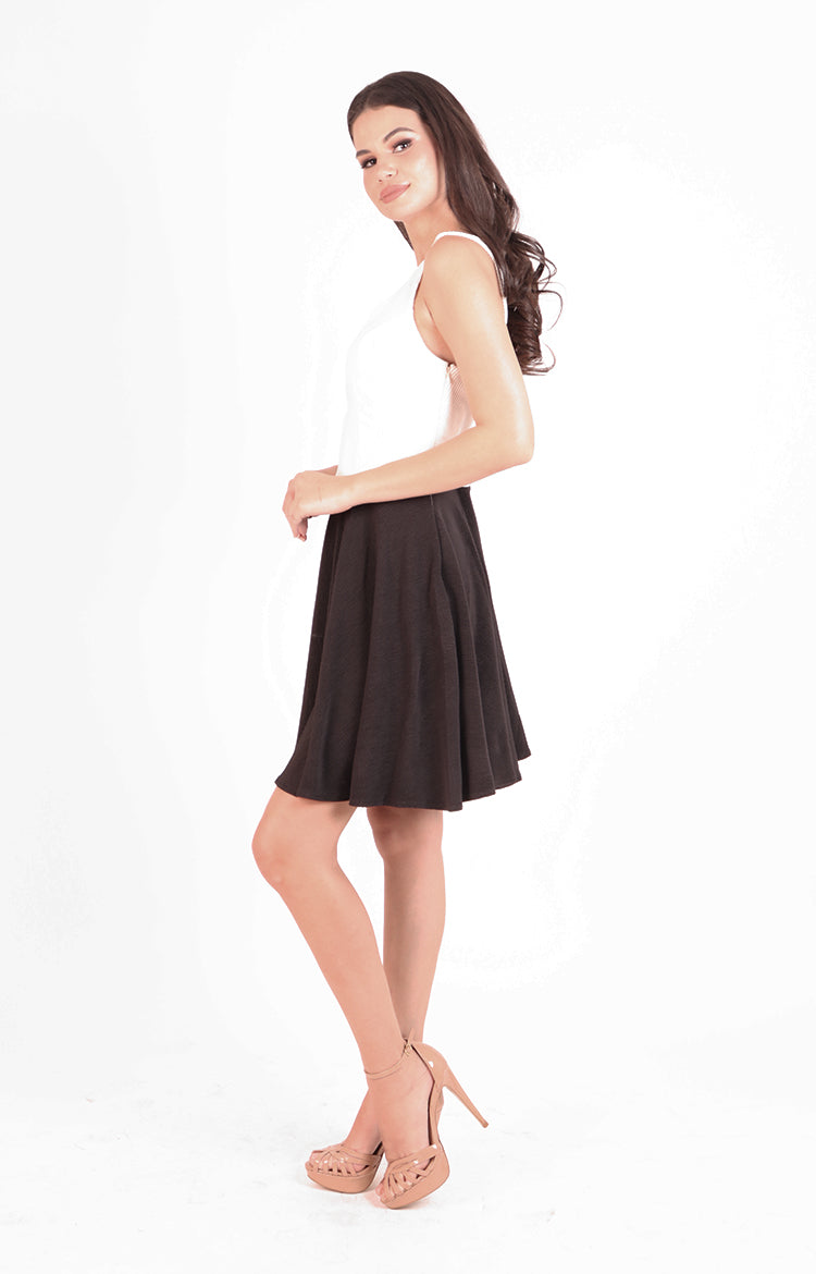 Dina Dress in Black and White
