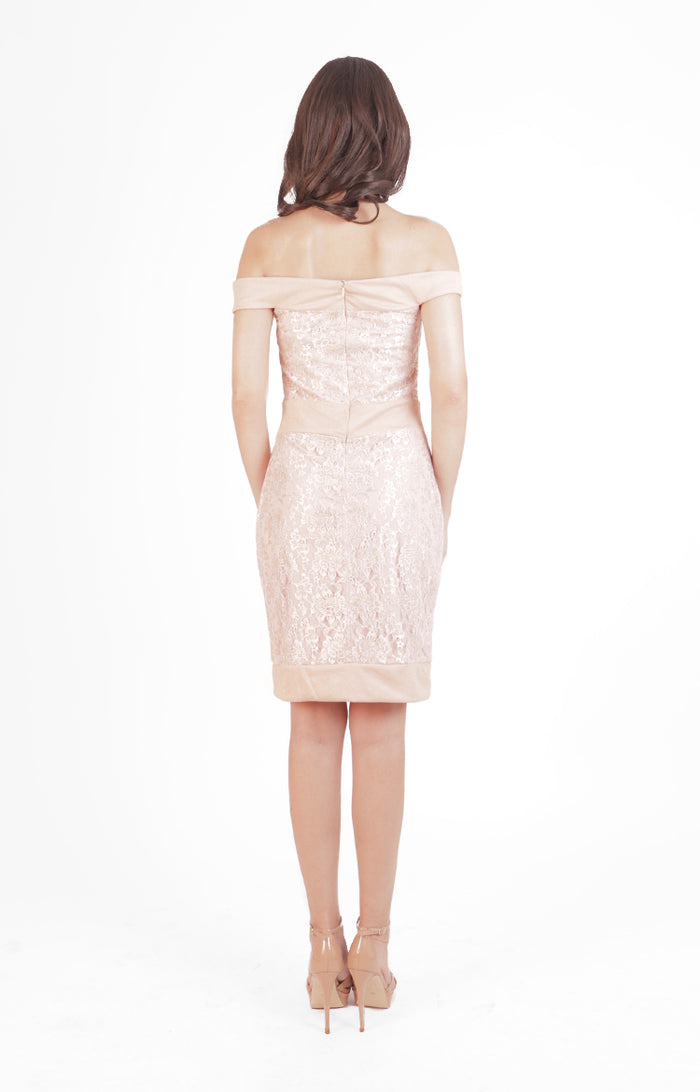 Greta Dress in Pink Lace