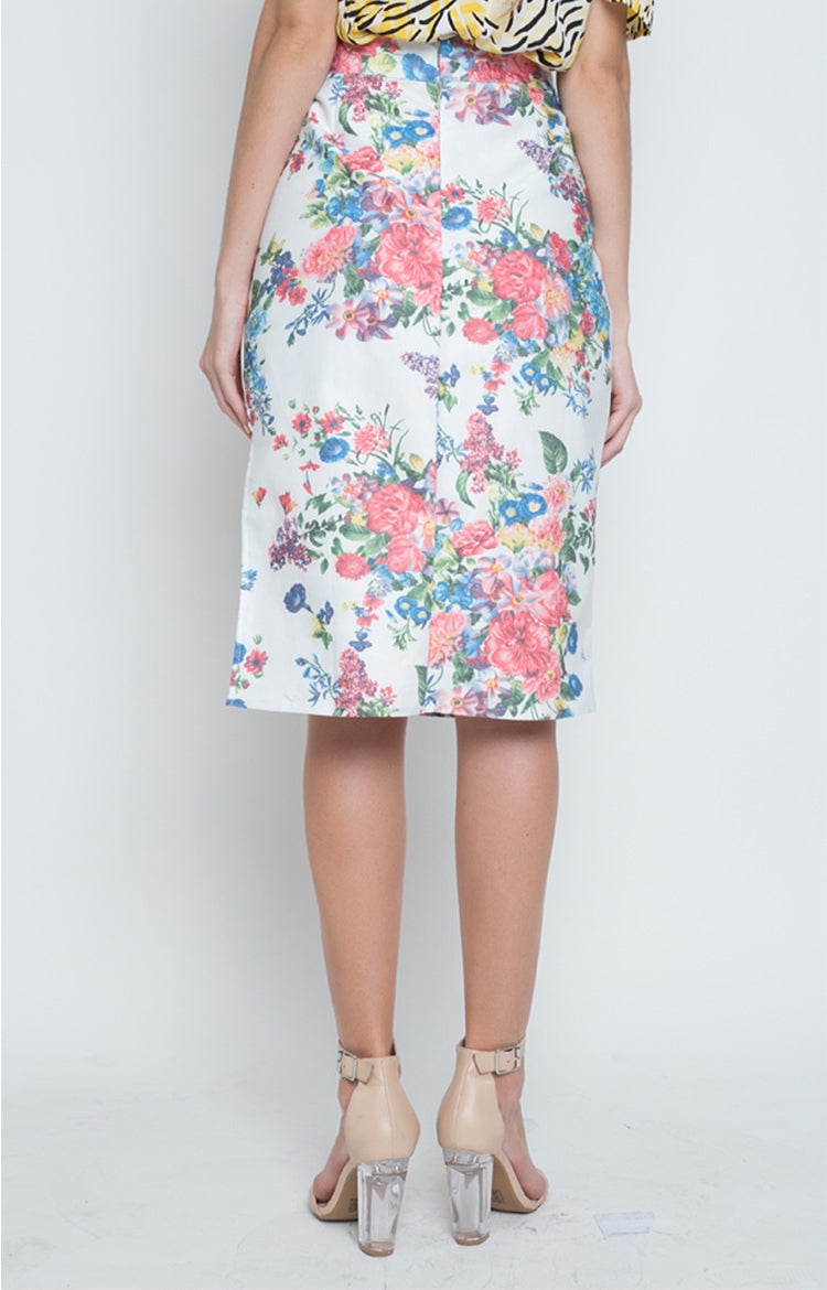 Lalia Side Slit Pencil Skirt in Multi
