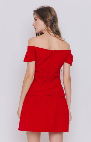 Moya Off Shoulder Dress in Red