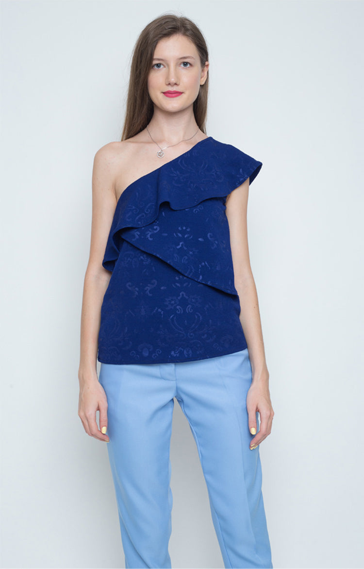 Kesara One Shoulder Layered Top in Blue