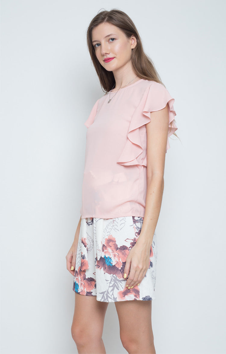 Jesusa Ruffled Sleeves Top in Pink
