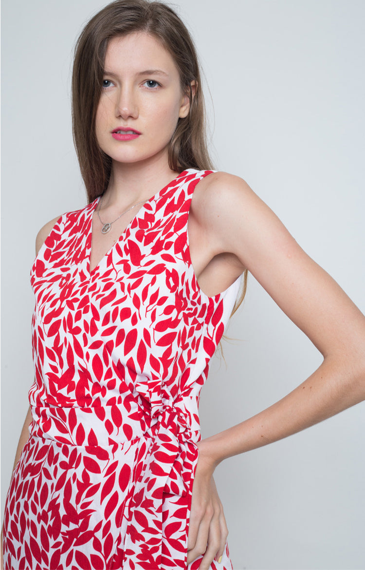 Garbine Wrap Dress in Red