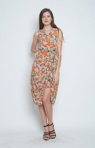 Garbine Wrap Dress in Orange