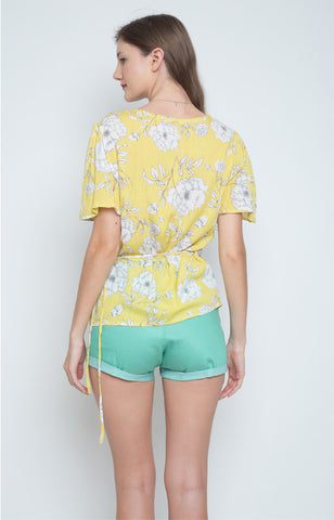 Francisca Wrap Top in Yellow