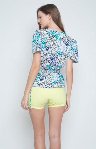 Francisca Wrap Top in Blue and Green