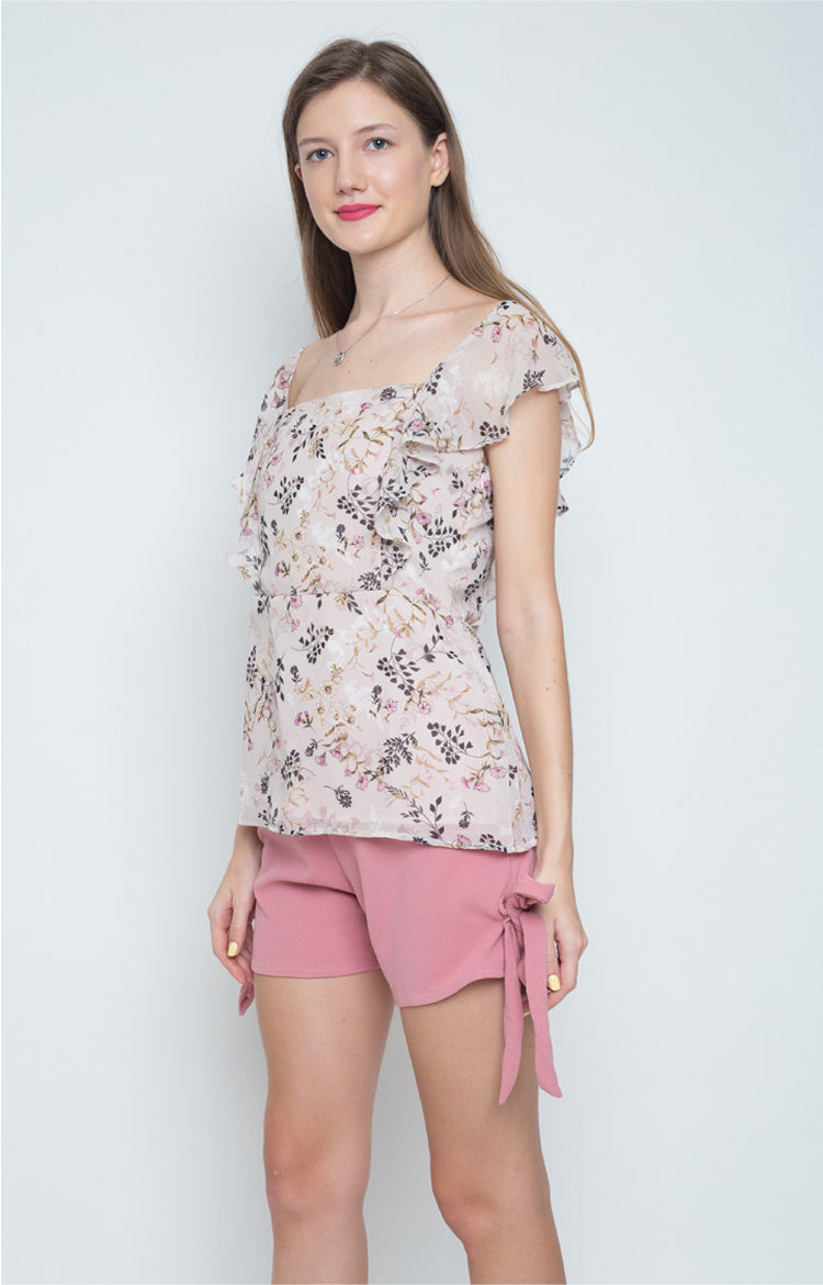 Fausta Flounce Sleeves Top in Dusty Pink