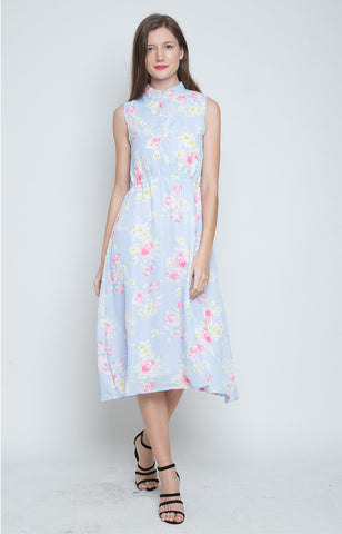 Esperanza Mandarin Collar Dress in Lt. Blue