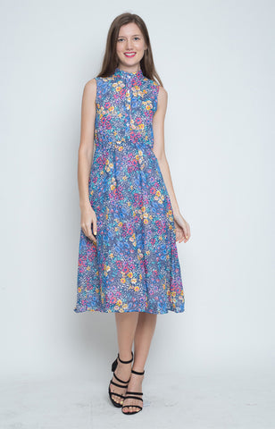 Esperanza Mandarin Collar Dress in Dark Blue