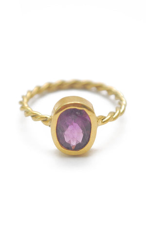 Panopio Stackable Ring - Amethyst Oval