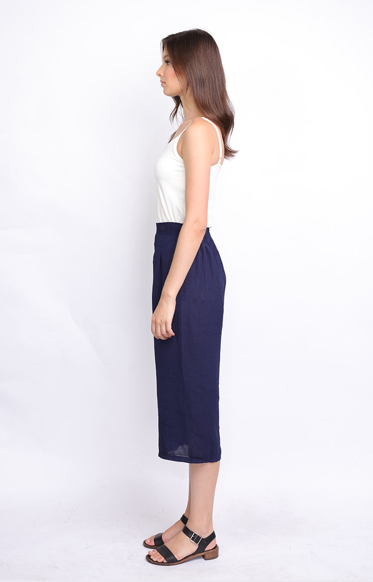 Navy Blue Plain Culottes Semi Pleated