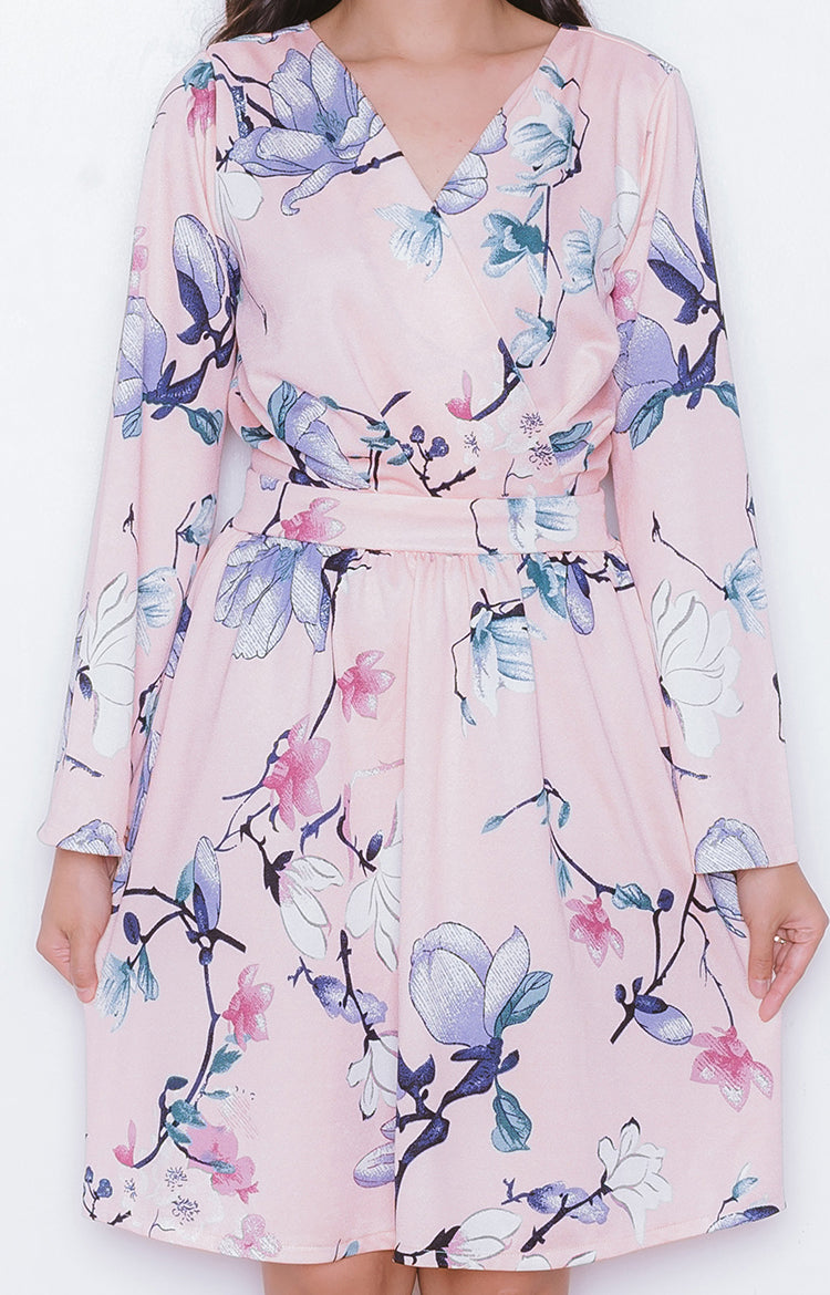 Koi Dress in Floral Pink