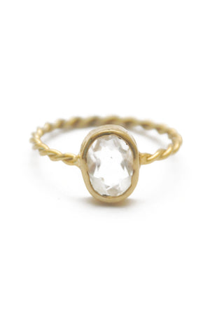 Panopio Stackable Ring - Crystal Quartz Oval
