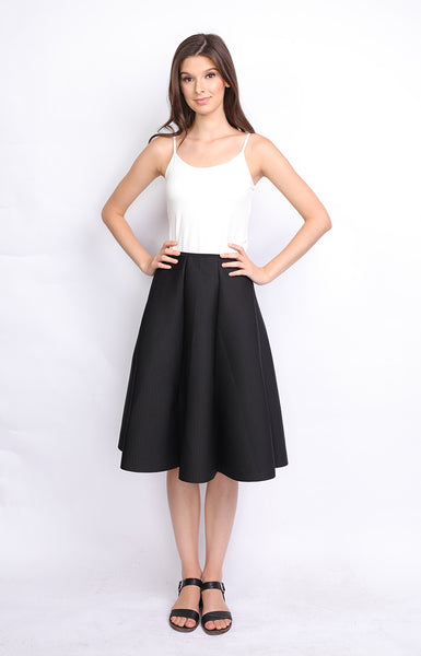 Black Neoprene Midi Skirt