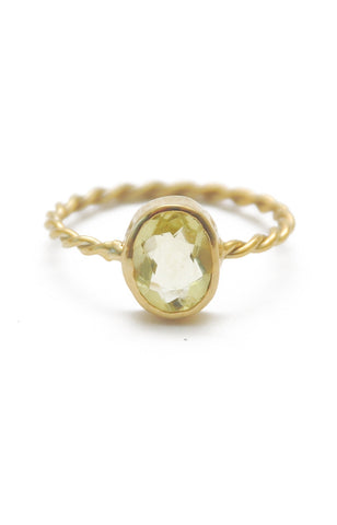 Panopio Stackable Ring - Lemon Quartz Oval