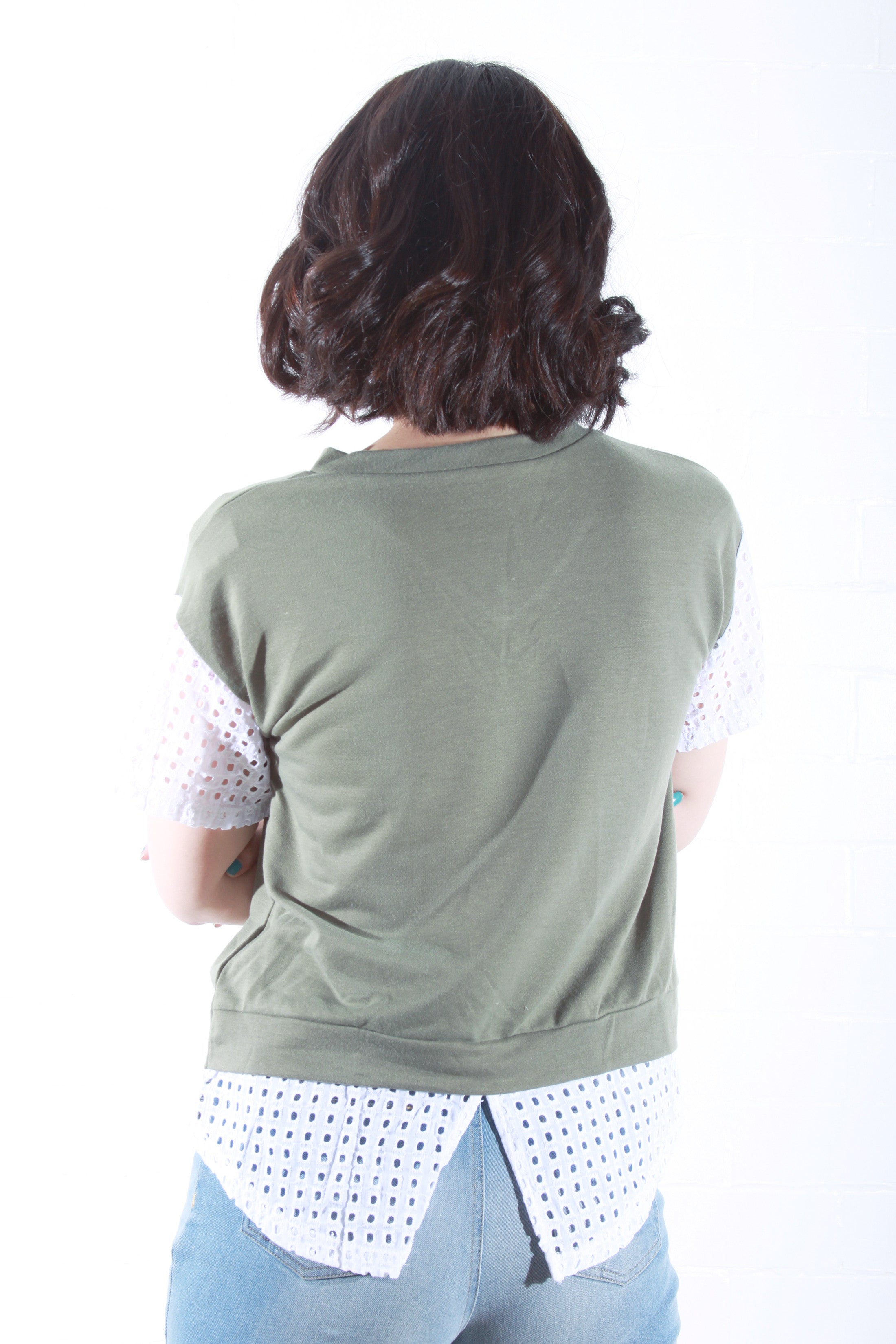 V-neck T-Shirt in Olive Green
