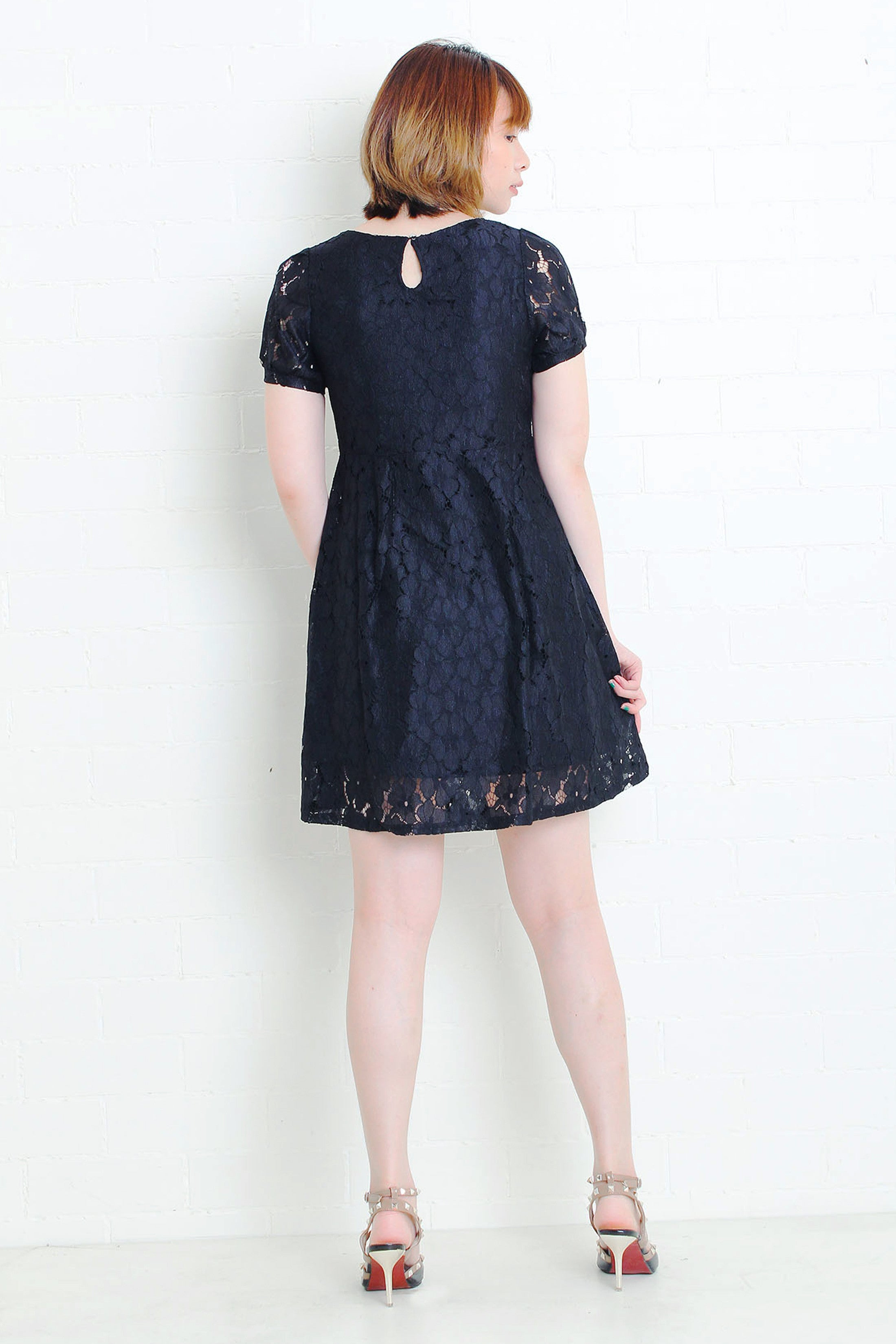Lace Dress with Sleeves in Black